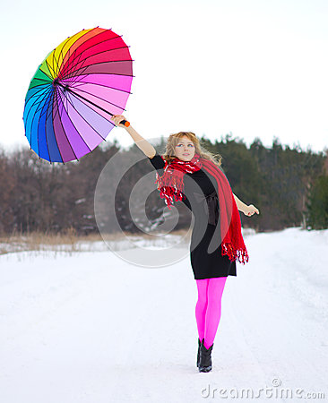Free Young Woman With Multicolor Umbrella Royalty Free Stock Photo - 29381825