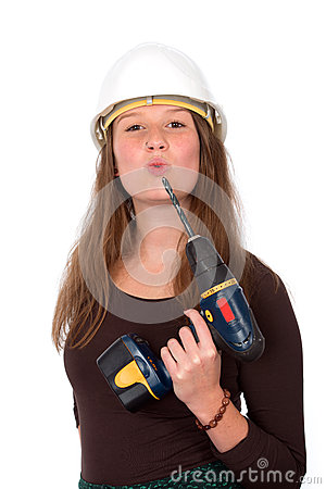 Free Young Woman With Tool Royalty Free Stock Photo - 35434865