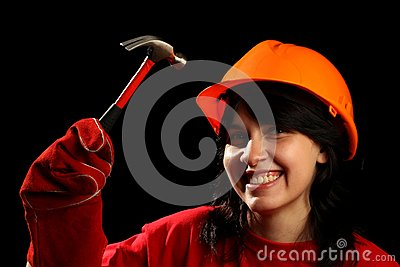 Young woman with work tools