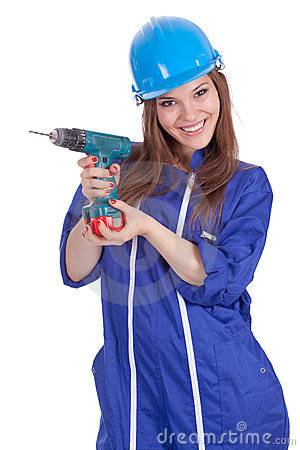 Young woman worker with drill