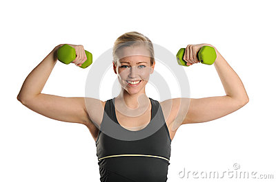 Young Woman working out with bumbbells