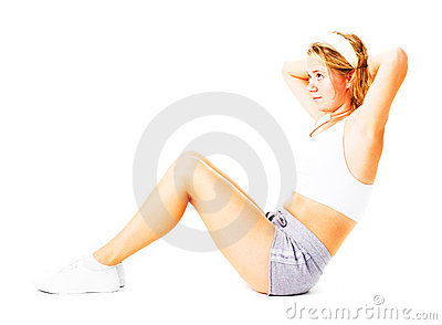 Young Woman Working Out On White
