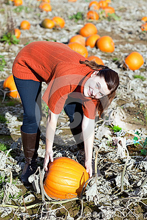 Young woman working on pumpkin field