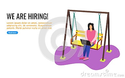 A Young Woman Working wile Swinging Vector Illustration