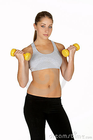 Young Woman with Yellow Dumbbells