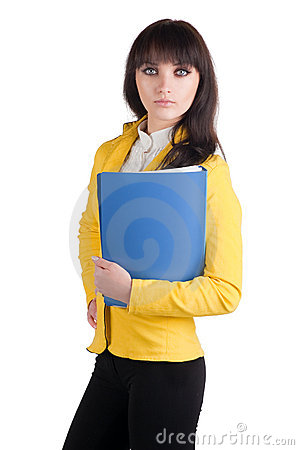 Young woman in yellow suit with the office folder.