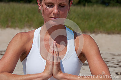 Young Woman Yoga Hand Position
