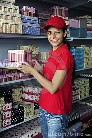 Young womanl working  in a store