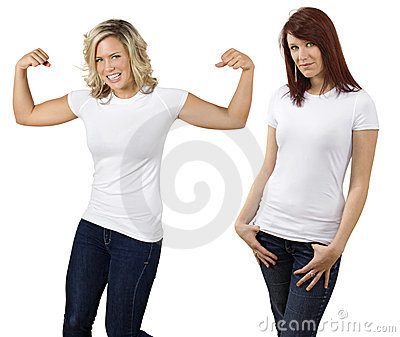 Young women with blank white shirts