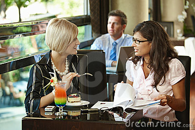 Young Women In Cafe Royalty Free Stock Photos - Image: 12651818