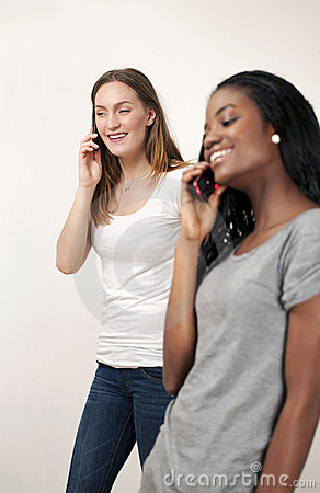 Young women chatting on phone