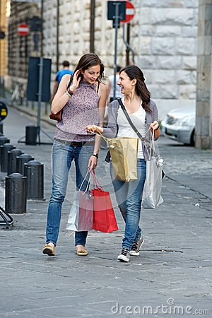 Young Women in the city after Shopping