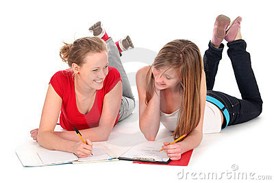 Young women doing homework