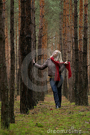 Young women in forest