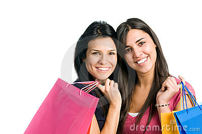 Young women friends doing shopping