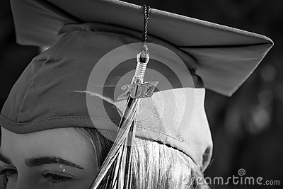 Young women with graduation year Stock Photo