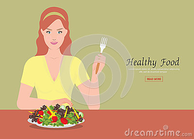 Young women holding fork to eating salad on the table. Vector Illustration