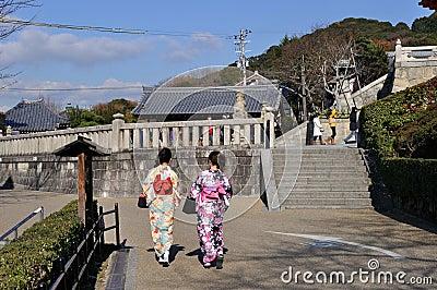 Young women in Kimono Editorial Stock Photo