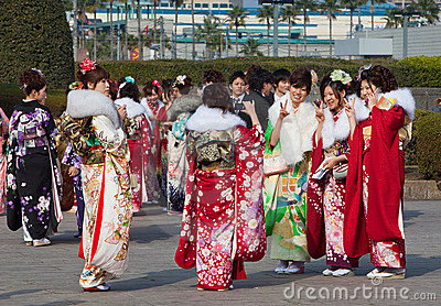 Young Women in kimono on Coming of Age Day Editorial Stock Photo