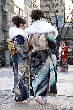 Young women in kimono dress