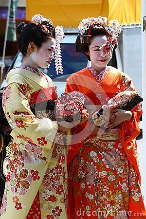 Young women in kimono dress Editorial Photo