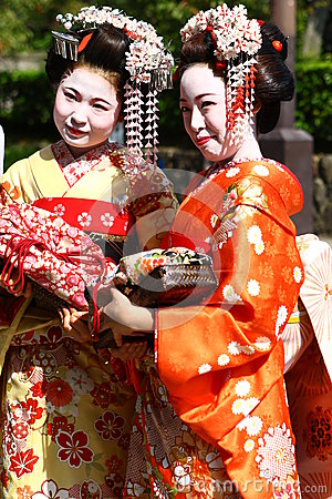 Young women in kimono dress Editorial Image