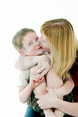 Young women kisses the son
