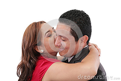 Woman kissing her Boyfriend