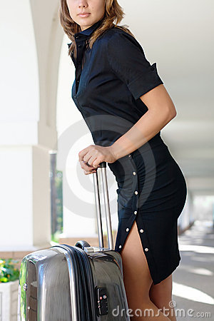 Young women with luggage