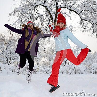 Young women outdoor in winter