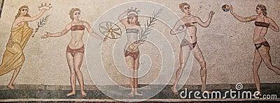Young women playing games in Roman mosaic