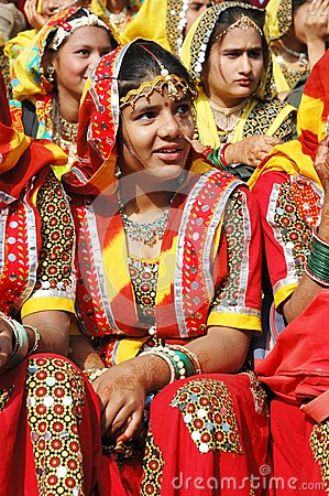 Young women  are preparing to perfomance at annual camel fair holiday ,Pushkar,India Editorial Stock Photo