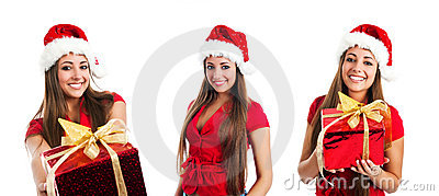 Young women in santa claus hat photos