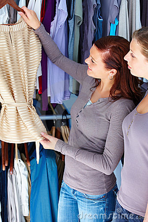 Young women shopping for clothes