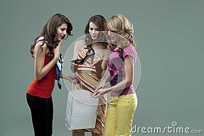 Young women smiling friends