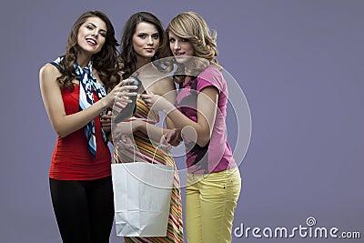 Young women smiling high heels shopping