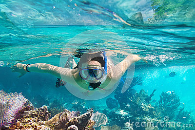 Young women at snorkeling