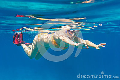 Young women snorkeling in the Andaman sea