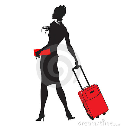 Young women/stewardess silhouette