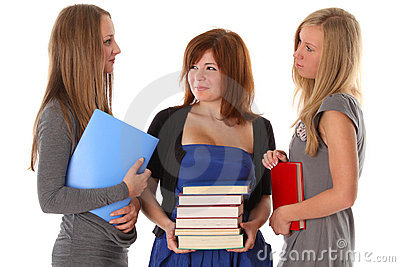 Young women students talking