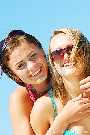 Young women on the summer beach
