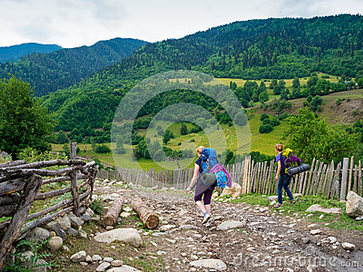 Young women trekking in Svaneti