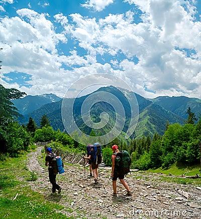 Young women trekking in Svaneti,