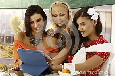 Young women using tablet