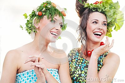 Young women with vegetables hairstyles