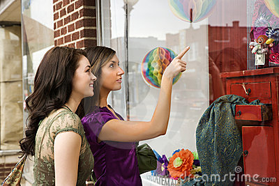 Young Women Window Shopping