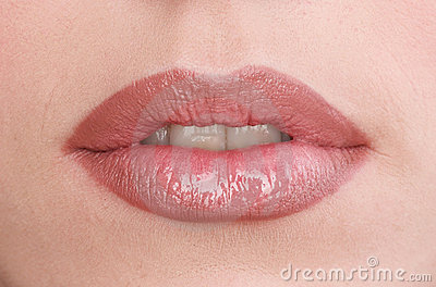 Young womens lips
