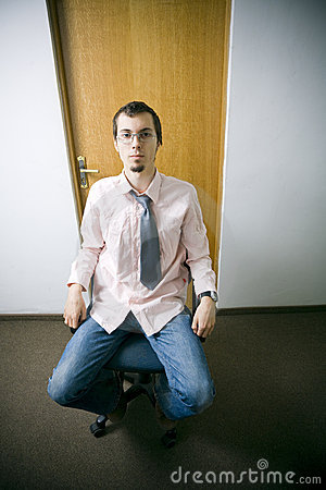 Young worker in office