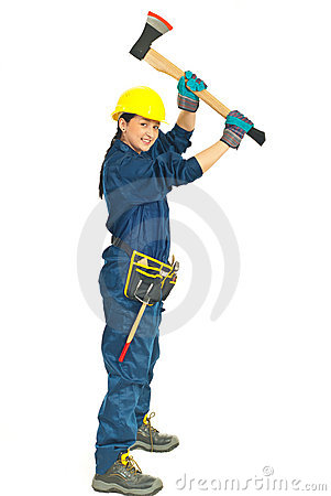 Young worker woman working with axe