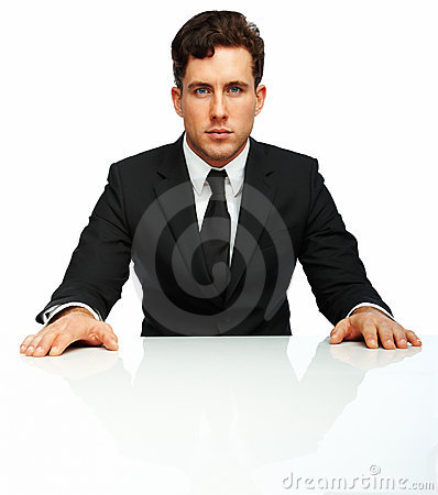 Young worried businessman isolated over white